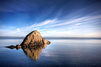 Fife Coastal Trail - a lone rock in the North Sea at sunrise