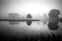Broughton Castle on a misty morning